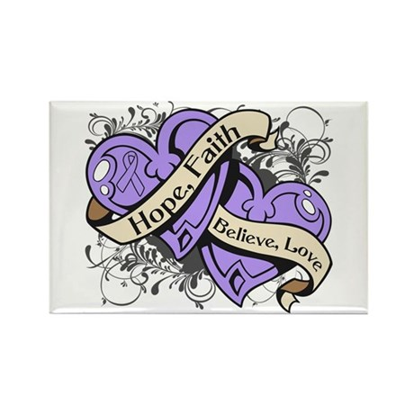 General Cancer Hope Dual Heart Rectangle Magnet