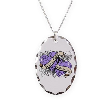 General Cancer Hope Dual Heart Necklace Oval Charm