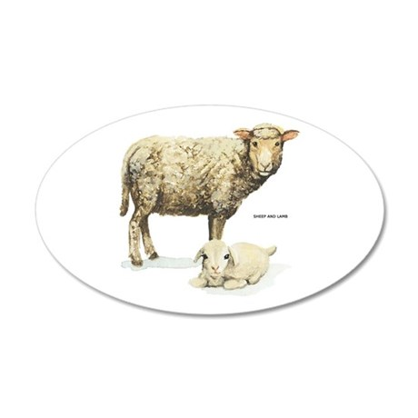 Sheep and Lamb Animal 35x21 Oval Wall Decal