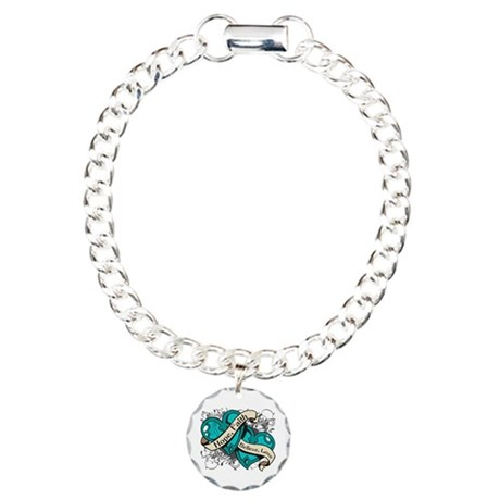 Gynecologic Cancer Hope Dual Heart Charm Bracelet,