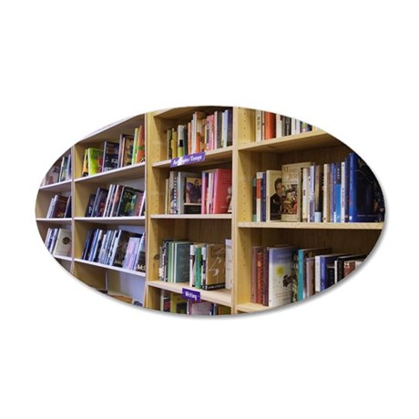 Bookshelves in bookstore 35x21 Oval Wall Decal