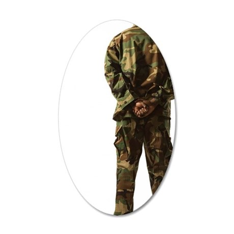 Rear view of soldier 35x21 Oval Wall Decal