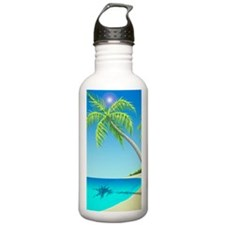Palm trees hanging ove Sports Water Bottle