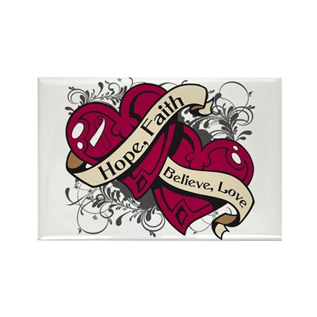 Head Neck Cancer Hope Dual Heart Rectangle Magnet