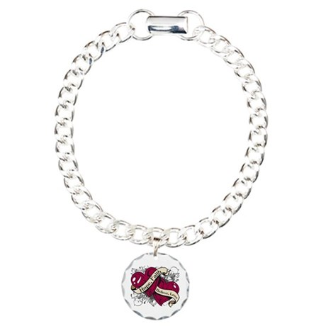Head Neck Cancer Hope Dual Heart Charm Bracelet, O