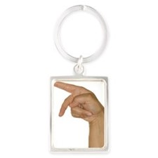 Hand making P sign Portrait Keychain
