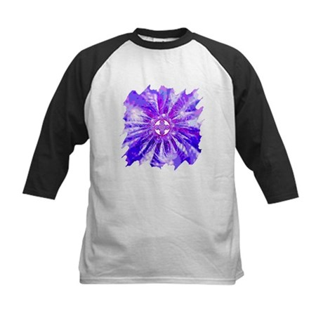 Blue Fractal 002 Kids Baseball Jersey