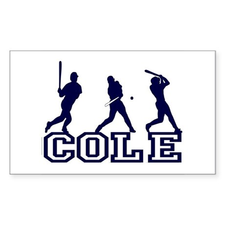 Baseball Cole Personalized Rectangle Sticker