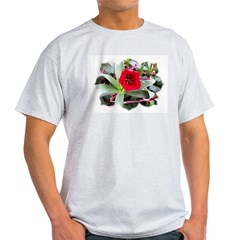 Red Flower Ash Grey T-Shirt