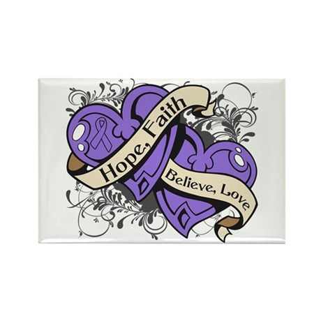 Hodgkins Lymphoma Hope Dual Heart Rectangle Magnet