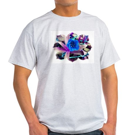 Blue Flower Ash Grey T-Shirt