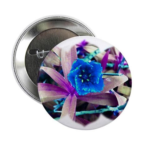 "Blue Flower 2.25"" Button (100 pack)"