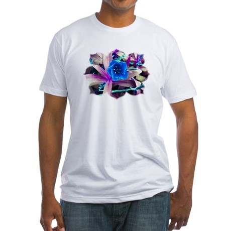 Blue Flower Fitted T-Shirt