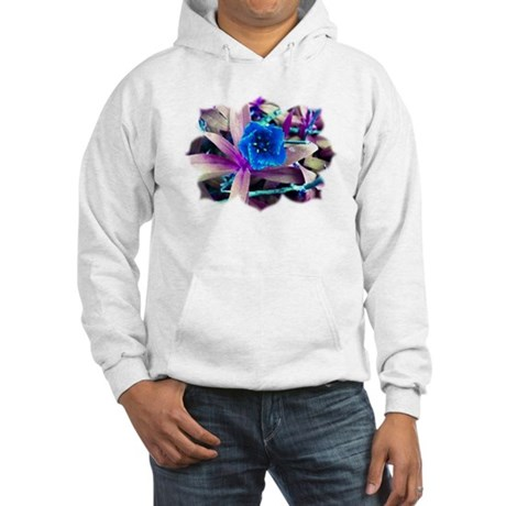 Blue Flower Hooded Sweatshirt