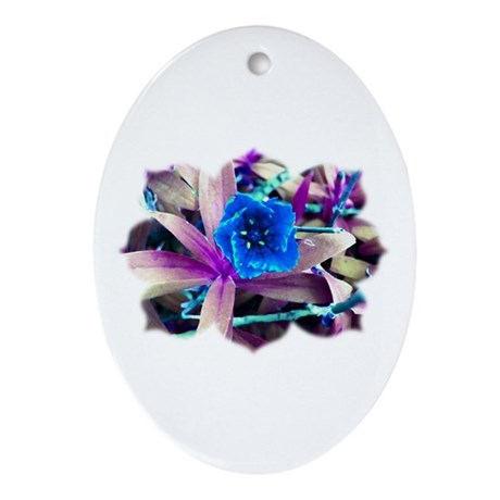 Blue Flower Oval Ornament
