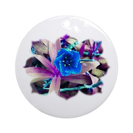 Blue Flower Ornament (Round)