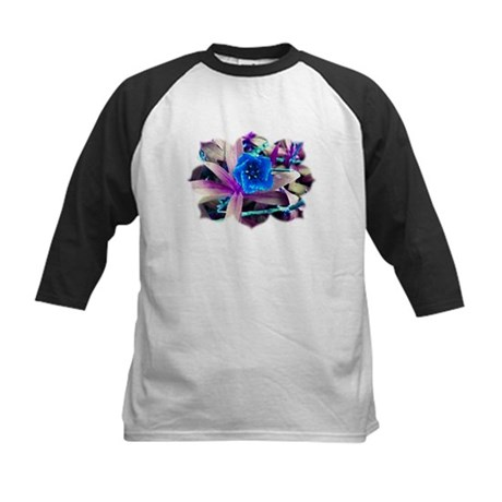 Blue Flower Kids Baseball Jersey