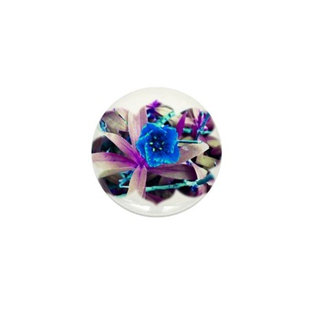 Blue Flower Mini Button