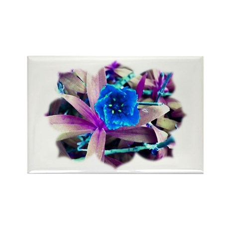 Blue Flower Rectangle Magnet