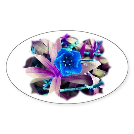 Blue Flower Oval Sticker