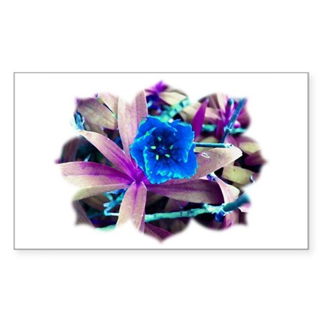 Blue Flower Rectangle Sticker
