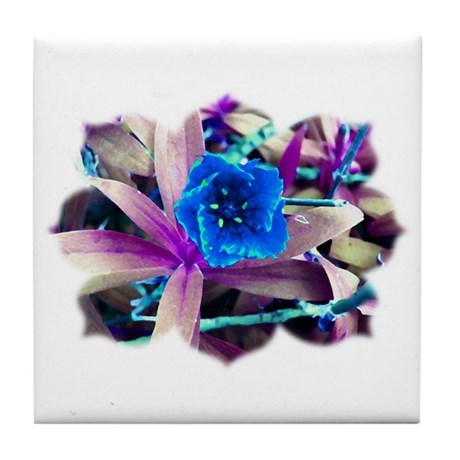 Blue Flower Tile Coaster