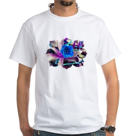 Blue Flower White T-Shirt