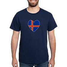 Aland Island Flag Heart T-Shirt