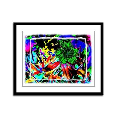 Green Flower Framed Panel Print