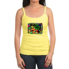 Green Flower Jr. Spaghetti Tank