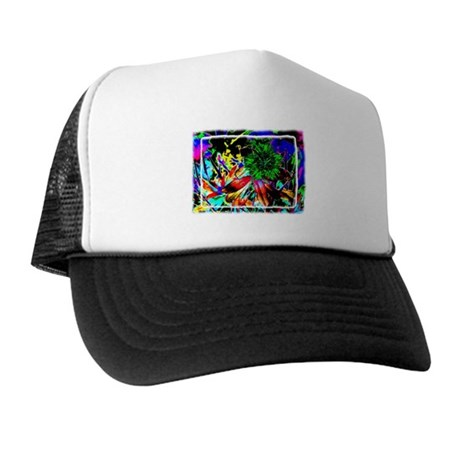 Green Flower Trucker Hat