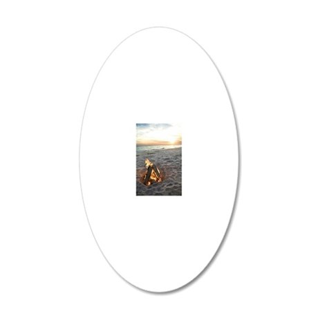 Bonfire on beach 20x12 Oval Wall Decal