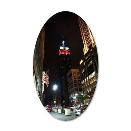 Times Square at night, New Y 35x21 Oval Wall Decal