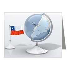 Globe shows Chile closeup wi Note Cards (Pk of 10)