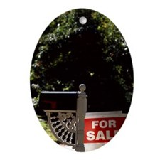 For Sale sign beside mailbox Ornament (Oval)