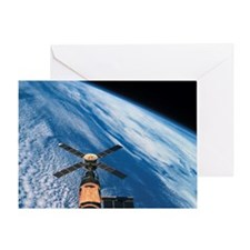 Elevated view of a satellite orbitin Greeting Card