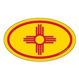 New Mexico Flag Euro Oval  Aufkleber