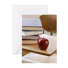 Stack of books, apple, a Greeting Cards (Pk of 10)