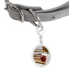 Stack of books, apple, and scho Small Oval Pet Tag