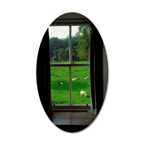 Window with view to sheep gr 35x21 Oval Wall Decal