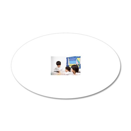 Children look into microscop 20x12 Oval Wall Decal