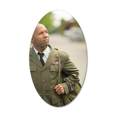 Military soldier walking 35x21 Oval Wall Decal