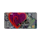 Heart &amp; Dragonfly Aluminum License Plate