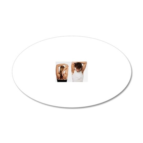 Couple stretching together 20x12 Oval Wall Decal