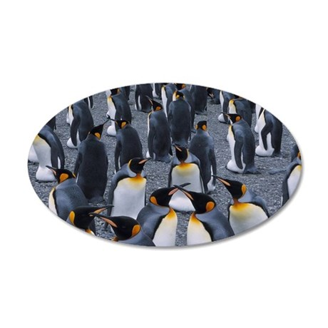 King Penguin Colony 35x21 Oval Wall Decal