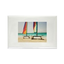 Catamarans on beach Rectangle Magnet (100 pack)