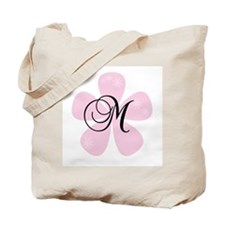 Pink Flower Monogram M Tote Bag