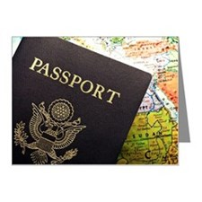 American Passport laid over  Note Cards (Pk of 10)