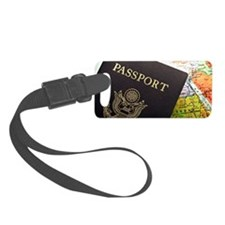 American Passport laid over a ma Luggage Tag
