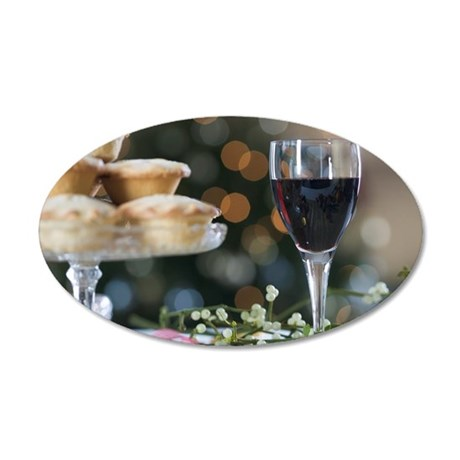 Mince pies and red wine 35x21 Oval Wall Decal